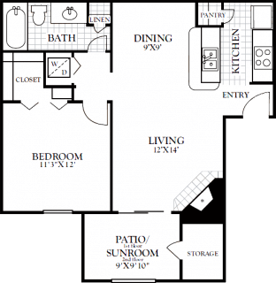 1 Bed / 1 Bath / 748 sq ft / Deposit: from $100 / Rent: Starting at $975