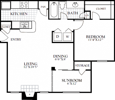 1 Bed / 1 Bath / 822 sq ft / Deposit: from $100 / Rent: Starting at $995