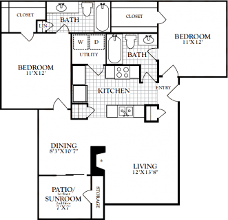 2 Bed / 2 Bath / 1,060 sq ft / Deposit: from $200 / Starting at $1345